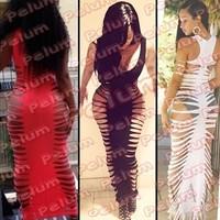 Free shipping kim kardashian New 2014 summer women bandage female   chiffon  culb    sexy bandage dress