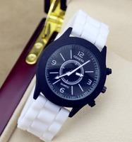 New Geneva watch 2014 summer men women fashion dress watches rubber strap sport watch for ladies free shipping W1635
