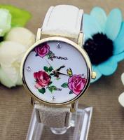 JW597 Fashion Geneva Watches Platinum Women Floral Quartz Watch Daisy Flower Watch Clock Brown PU Leather Dress Watch