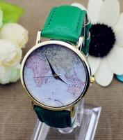 Vintage quartz watch World continent map design wristwatches women dress watches Gold Analog fashion watch accessories 5702