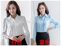Blue White sheer female shirts Summer Blouse Casual cheap clothes China Women blouses and shirts camisa social feminina Shirt