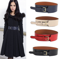 2014 New Ladies Simple fashion PU leather Body sculpting girdle female wide belts free shipping