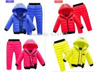 Retail 2014 New children boys girls Candy colors winter clothing suit set baby children Sports warm down jacket+pants sets suits