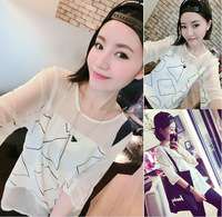 Free shipping   2014 new  Geometric patterns are spelt gauze  woman  T-shirt  fashion  retail