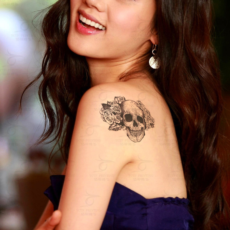 Black And White Rose And Skull Tattoos Temporary Tattoo Rose Skull