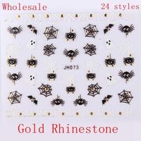 Wholesale Black White Nail Art Halloween Self Adhesive Sticker w/ Gold Rhinestone 100 pcs/lot