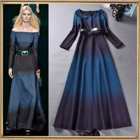2014  Runway Fashion women's high quality gradient long-sleeve strapless full dress with belt