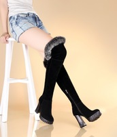 Sexy Womens Suede Thigh High Heels Fur Snow Boots Chunky Platform Pumps Creepers    us4 4.5 5 6 7 8
