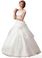 2014 FairOnly New Design Custom Organza Crystal Sequined Appliqued Wedding Dresses Bridal Gowns