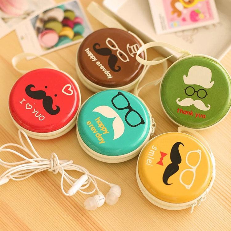 Fashion Bags 6 Cute Big Beard Face Designs Round Portable Coin Purse Hard Key Earphone Holder Case Bag BG-0396(China (Mainland))
