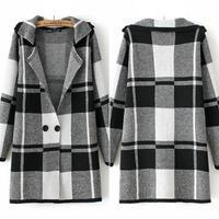 Casacos Femininos 2014 Beauty Women Lady Grid Top Lattice Sweater Cardigan Coat  #62893