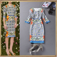 2014 Runway fashion autumn women's fresh vintage print fifth sleeve slim hip knee-length dress