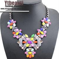 [Mix 15USD] Brand Designer Flower Choker Women Necklaces Fashion Statement Necklace 2014 Vintage Jewelry Big Pendant Necklace