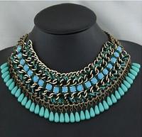 [Mix 15USD] 2014 Bib Chocker Statement Necklace women Waterdrop Resin Bohemian jewelry Layers Chain Braid Necklace