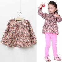 free shipping CS4078 Girls print cotton flower  blouse 6PCS/LOT