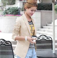 2014 New Fashion Autumn Women Slim Jacket Blazer Casual Female Long-sleeve Black White Suit Coats LSP0889 Free Shipping QY