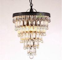 Modern Vintage Crystal Chandelier Round Ceiling Light