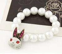 [Mix 15USD] Vintage white Rabbit Pearl Bracelet Beads Single styels Fashion pearl jewelry Charm for women 2014