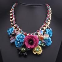 [Mix 15USD]Brand Fashion Metal crstal Big Peony Flower Statement Chocker Necklace New fashion luxury Jewelry