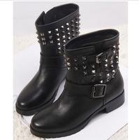 Flats Ankle Boots New 2014 Brand Summer & Winter Short Boots Botas Femininas Rivets Women Martin Motorcycle Boots