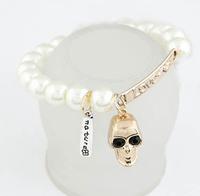 [Mix 15USD] Skeleton/Skull Love Sideway Pearl Bracelet Single styels Gold jewelry Charm for women 2014