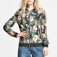 Fashion Lady Women New Petunias Print Top Jackets Coat Casacos Femininos #62923