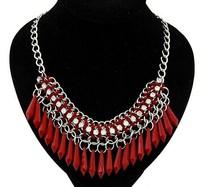 [Mix 15USD] 2014 Fashion Luxury Bohemian red or black waterdrop necklaces for women Braid Chain Bib Chocker statement jewelry