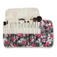 12 Pcs Wood&Nylon professional cosmetic Kabuki makeup brushes set with flower printed bag MA118