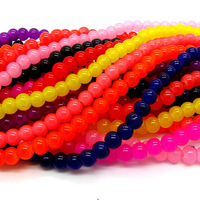 Glass Beads Mix Color 6mm 8MM Imitation Jade Round Cheap Bulk Nepal Loose Fluorescent Bead For Necklace Bracelet Making HB416
