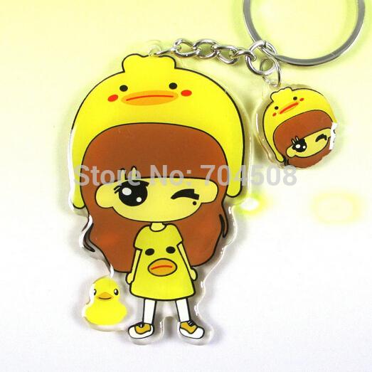 FD908 Cute Cartoon Keychain Keyring Key chain ring charm ~Yellow Duck Girl~ 1pc(China (Mainland))