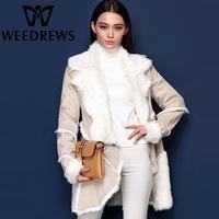2014 Brand Women's Fashion Genuine Sheep Fur-Lined Coat Double-Faced Fur & Suede Jacket Long Natural Sheepskin Shearling Winter