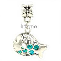 1 Piece ,2014 New Arrival 925 Silver Bead, Rhinestone Fish Pendants Fit Pandora Charms Bracelets,necklaces & pendants,SPP038