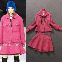 Fashion 2014 fMagazine ladies elegant tweed fabric wool outerwear half-skirt set  coat suits wholesale