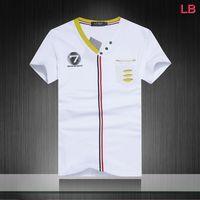 2014 Men NO.7 luxury Fashion brand EA V Neck Print Short Sleeve t shirt, casual tee +Free Shipping, 4 Colors Size M-2XL