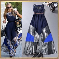 2014 Fashion women's street vintage leopard print geometry color block sleeveless slim waist expansion bottom full dress