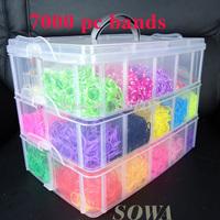 7000 pc bands +100S-clips +1 loom + 2 Orignal Hooks+ DIY Loom bands Silicone Latex Refills Kits Set 3 Layers BOX charm bracelet