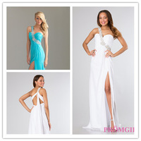 2014 A-line One-shoulder Floor Length Mint Green Beaded  Slit Long Chiffon Evening Dresses Evening Gown Prom Dresses Prom Gown