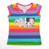 FREE SHIPPING K2363# 18m/6y  NOVA kids wear girl tops printed modern girl striped short sleeve brand fashion T-shirts for girls