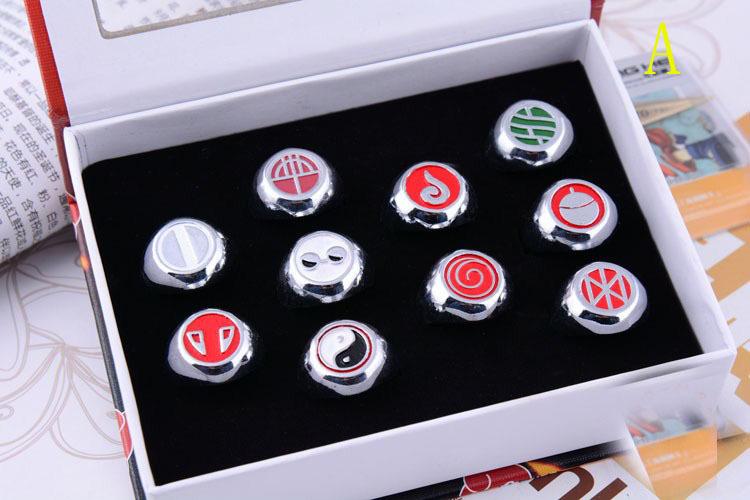 NARUTO COSPLAY Akatsuki Member Ring Ninja Village Symbol Ring Family Symbol Ring Sharingan Ring 10 Pcs/Set Gifts and Collection(China (Mainland))