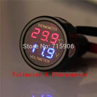 Car Cigarette Lighter DC8-40V LED 3 Digits Volt Meter Voltmeter Thermometer