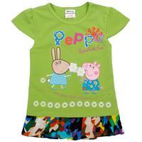 peppa pig girl tshirt spring 2014 nova kids clothing outwear beautiful floral summer cotton short sleeve T-shirt for girls K4718