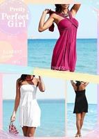 Hot Sexy Women Lady Strapless Bikini Cover Up Bandeau Dress Padded Swimwear Beach Wear