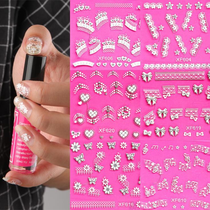 New Nail Art Stickers Decal Silver Lace Snowflakes Heart Bow Music Pink Crystal Pattern Nail Decoration NA-001956-616\ru(China (Mainland))