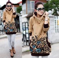 Plus Size M.L.XL.XXL Sweatshirt Women 2014 New Autumn Winter Fleece Thick Hoodies Loose Long Design Outwear Tops ,Free Shipping