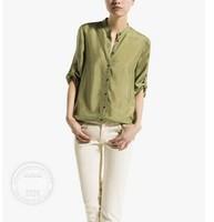Spain M D fashion brief vintage stand collar 100% silk shirt mulberry women elegant blouse plus size