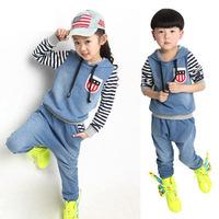 Korean style 2014 kids clothes sets fashion100%cotton jeans girl boy striped 2piece/setsports costumes winter children's clothes