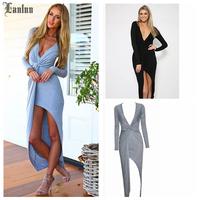 Lanluu Hot Fashion 2014 Long Sleeve Deep V-neck Sexy Dress Women Long Elegant Evening Dress SQ809