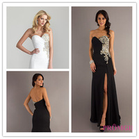 2014 A-line Sweetheart Floor Length Black Beaded Slit Satin Long Party Evening Dresses Evening Gown Prom Dresses Prom Gown