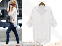 [R-406] Free shipping 2014 spring new women shirts wholesale large size women's long-sleeved blouse chiffon shirt blouse