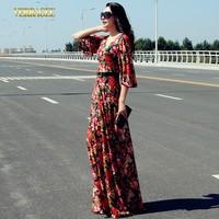 2014 New fashion floral print long lace dress fashion half butterfly sleeve princess ultra long dress O-neck slim maxi dress